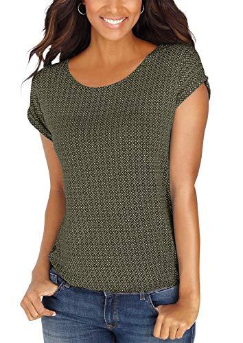 Yidarton Damen T-Shirt Kurzarm Basic Tee mit Allover-Minimal Print Lose Stretch Sommer Oberteil Tops (Grün, XXL)