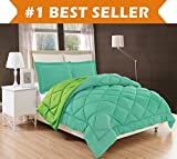 Elegant Comfort All Season Comforter and Year Round Medium Weight Super Soft Down Alternative Reversible 2-Piece Comforter Set, Twin/Twin XL, Aqua/Lime