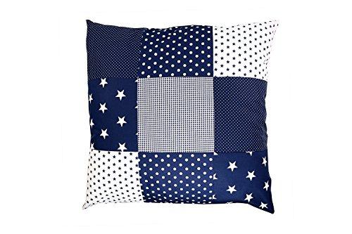 ULLENBOOM ® Patchwork Kissenbezug Blaue Sterne (60x60 cm Kissenhülle, 100% Baumwolle, ideal als Dekokissen, Kinderzimmer Zierkissen, Motiv: Sterne) -