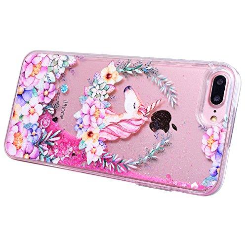 WE LOVE CASE Coque iPhone 7 Plus, Coque iPhone 7 Plus Licorne de Protection en Hard Dur Bling Coque iPhone 7 Plus Paillette Liquide Transparent avec Motif Antichoc Bumper Mince, Ultra Slim Original Fi Coeur Rose