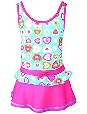 Centrawin Mädchen Kinder Einteiler Badeanzug Kleid Bunte Liebe Herz Printed Bademode Beachwear
