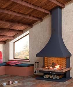FOCGRUP - Cheminée ouverte SPOSI 10,5 kW CH32 Foyer en briques réfractaires