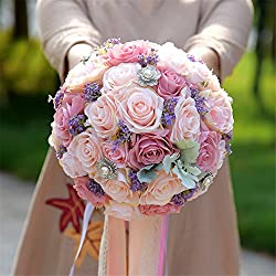 Ramo Novia Artificial - bouquet imitación flores reales - tonos rosados