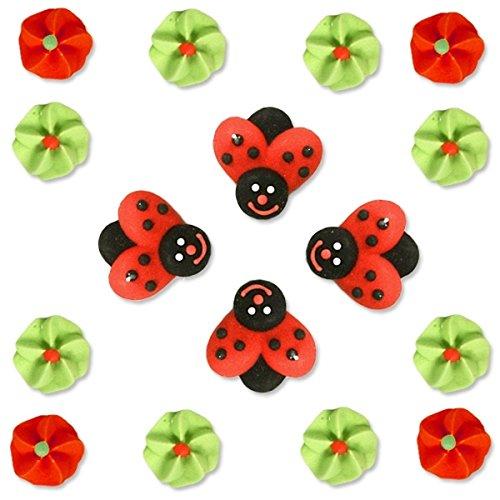 Zucker-Käfer und Zucker-Blumen, 4 Marienkäfer und 12 Blümchen, 16er-Pack