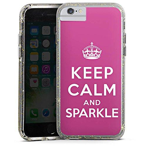 Apple iPhone 6s Plus Bumper Hülle Bumper Case Glitzer Hülle Keep Calm and Sparkle Girl Sayings Bumper Case Glitzer gold