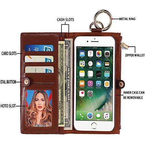 Grande Vendita - 60% Off - Woolala Portafogli Telefono Caso Iphone / Samsung, 2-In-1 Borsa In Pelle Con Supporto Della Cassa Del Telefono Staccabile, S7Brown iphone6Prose