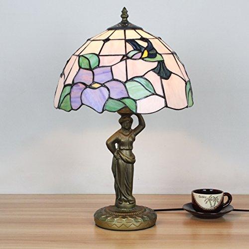 12 Zoll Vintage Pastoral Kolibri mit Blumen Glasmalerei Tiffany Stil Tischlampe Schlafzimmer Lampe Nachttischlampe -