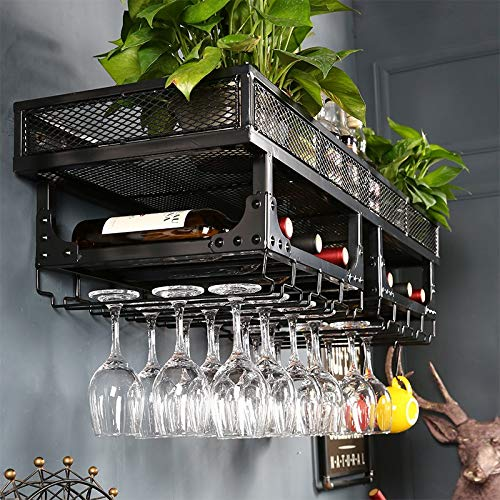 Wandmontiertes Weinregal | Hängender Weinglashalter | Vintage Weinflaschenhalter | Stemware-Halter | Rustikales Schwimmendes Weinregal | Metall Moderner Stil Weinhalter | Wand-Dekor A+++ -