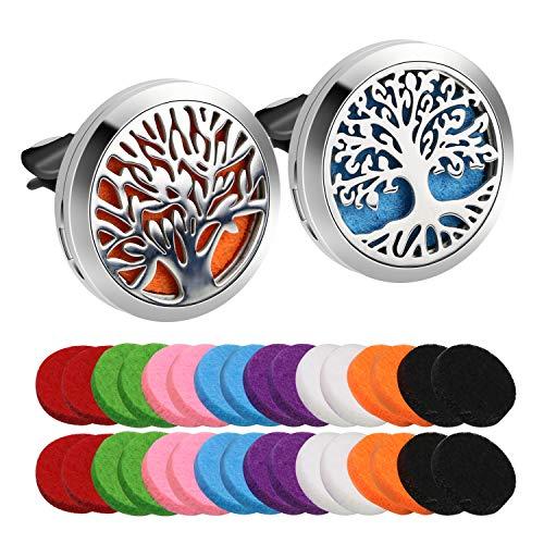 Deodoranti per Auto CestMall Auto Aromaterapia Vento Clip per Auto Oli essenziali Profumo, con 32 feltrini di Ricambio per Auto, Soggiorno, Ufficio (2 Stili)