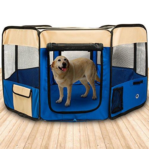 BIGWING Style Box per Cani Recinzione per Cuccioli Grande recinto per Animali da Usare all'Interno e all'Esterno- Facile da Montare - Blu,XL