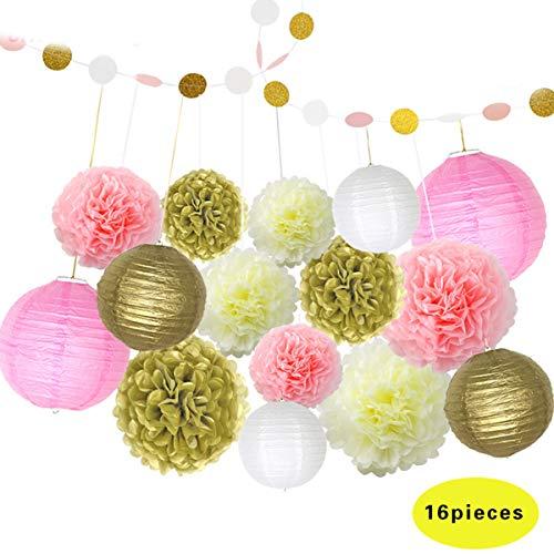 Janolia Rosa und Gold Party Dekorationen, POM POM Honeycomb Ball und Papier Laterne für Baby-Dusche, Geburtstag, Hochzeit, Verlobung Party, Taufe