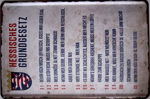 vielesguenstig-2013 Blechschild Schild 20x30cm - Hessisches Grundgesetz Spruch lustig