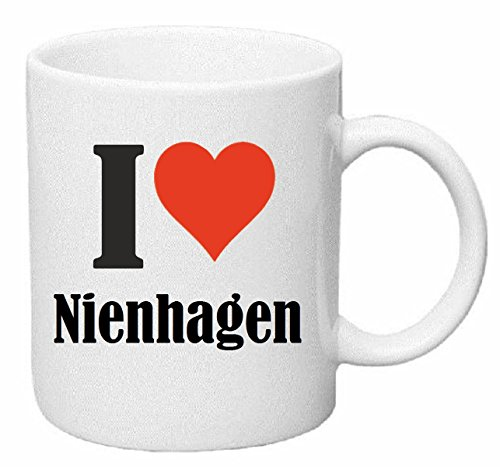 "Kaffeetasse ""I Love Nienhagen"" Keramik Höhe 9,5cm ? 8cm in Weiß"
