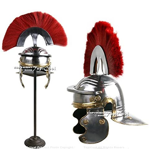 Roman Centurion Officer Helmet with Red Plume Armor SCA Replica Medieval Knight by Etrading