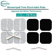 RecoverPad Gel fatto al 100% in Giappone 20 50mm x 50mm Elettrodi TENS/EMS Senza Latex Lavabile riutilizzabile con prestazioni autoadesive leader nel settore e design non irritante