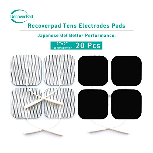 RecoverPad 20pcs 50x50mm Profesional TENS Electrodos,3rd Gel japonés Sin látex Electrodos(CE/FDA Aprobado),Mejor desempeño autoadherente para electroestimuladores TENS EMS