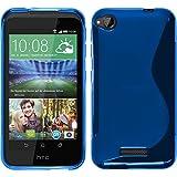 PhoneNatic Case für HTC Desire 320 Hülle Silikon blau, S-Style + 2 Schutzfolien