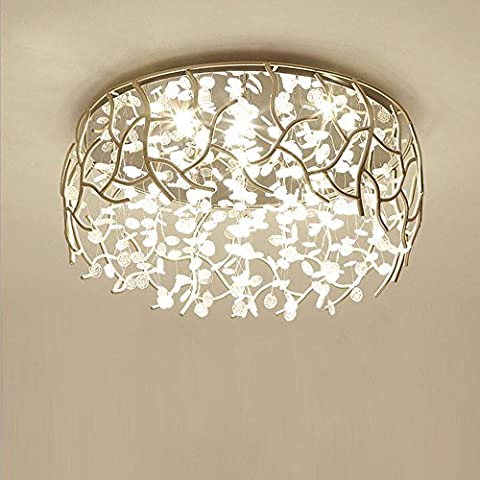 American style Simple Round Hollow Iron Crystal Ceiling lights for