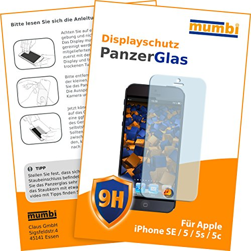 mumbi Panzerglasfolie iPhone SE 5 5S 5C Glasfolie Hartglas 9H