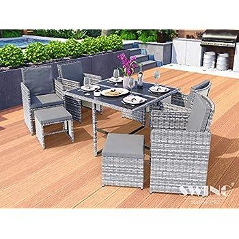 Directachat56 Salon de Jardin résine tressée Gris Clair ...
