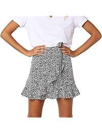 3525f5f922 Verano Mujeres Leopardo Impreso Falda Casual Corto Faldas de Playa Moda Lado  de la Hoja de