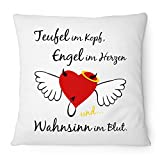 Fashionalarm Kissen Teufel Engel Wahnsinn - 40x40 cm mit Füllung | Geschenk Idee für Frauen mit lustigem Spruch & Motiv Herz mit Flügel, Farbe:weiß