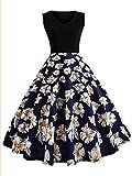 DIDK Damen Blumen Vintage 1950er Ärmellos Casual Abend Party Schwingen Kleid Cocktailkleid Rockabilly Kleider 2XL
