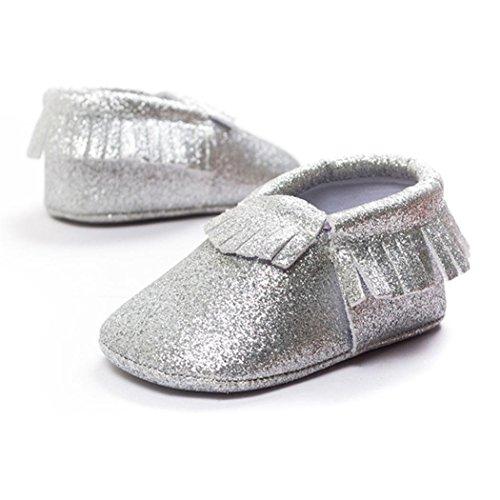 Hunpta Baby Kinderbett Fransen Pailletten Schuhe Kleinkind weiche Sohle Turnschuhe Freizeitschuhe (0 ~ 4 Monate, Silber) Silber
