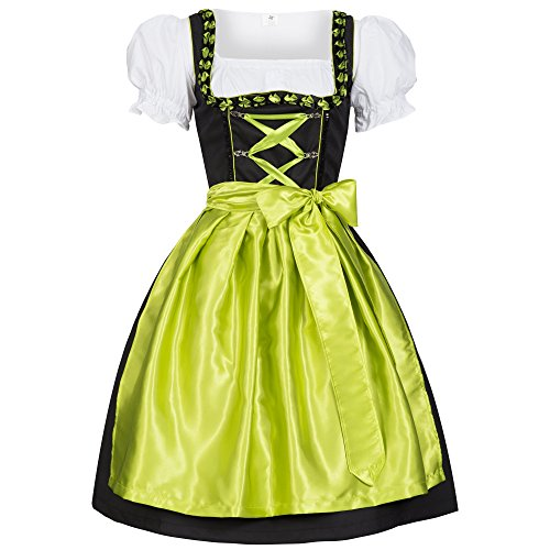 Dirndl Iwona schwarz mit Schürze grün Gr. 38