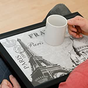 Lap Tray with a Bean Bag Base - Paris Themed Laptrays with Eiffel Tower