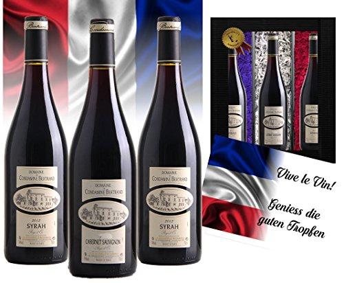 Luxus Weingeschenk Frankreich Vintage France 3er Set Syrah, Cabernet Sauvignon Cuvée Luxusgeschenk für Weinfreunde & -kenner mit Geschenkkarte 45 Jahre alte Reben