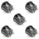 5 Stück | Schuko-Stecker aus Duroplast (Bakelit-Optik), Winkelstecker, schwarz