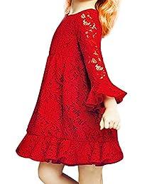 TiaoBug Filles Robe Floral Dentelle Manches Longues Princesse Cortège de Demoiselle d'honneur Robe Rouge 2-8 Ans