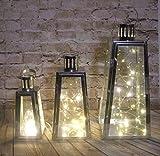 Set of 3 Lanterns Metal & Glass with LED lights (triangular silver LN025)