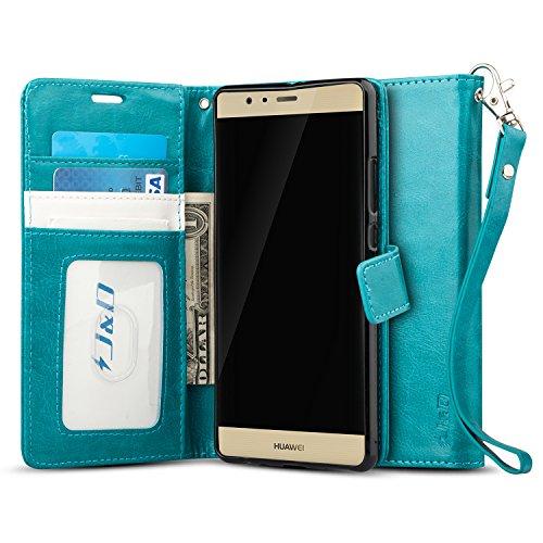 J & D Huawei P9 Plus Hülle, [Handytasche mit Standfuß] [Slim Fit] Robust Stoßfest Aufklappbar Tasche Hülle für Huawei P9 Plus - Aqua