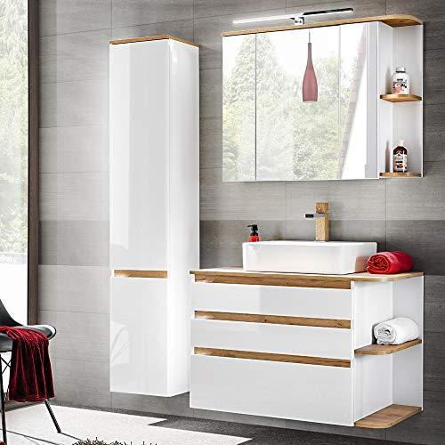 *Lomadox Badmöbel Set in Hochglanz weiß mit Wotaneiche, Waschtisch-Unterschrank mit Keramik-Waschbecken*