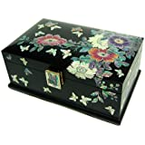 Wooden jewellery box with mirror, lacquer wood jewelry case, handmade mother of pearl gift, wild flowers 2