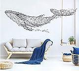 MYLOOO Große 165 * 55 cm / 65 * 21In Schwarz DIY 3D Geometrische Wal PVC Wandtattoos/Adhesive Familie Wandaufkleber Wand Kunst Home Decor