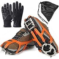 Agarres de Hielo para Zapatos y Botas, 18 Dientes de Acero Inoxidable Crampons, Dispositivo de tracción de Invierno para Escalada, Pesca, Caza, Trotar, Caminar sobre Nieve Helada, Large