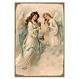 Cuadros Lifestyle Wanddekoration Blechschild 'Engel' / Schutzengel/Vintage, Größe:30x45 cm