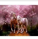 OKOUNOKO Malen Nach Zahlen Für Erwachsene Auf, Leinwand Malen Nach Zahlen Auf Leinwand ,Pferdebild ,Modulare Gemälde An Der Wanddekor Kirschblüten Ölgemälde Nach Zahlen ,Frameless 40X50Cm
