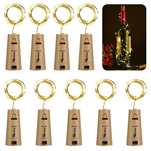 Merisny 9x 20 LED Flaschen-Licht Kupferdraht Cork Form der LED Nacht Licht Weinflasche Hochzeit Party romantische Deko,12pcs Kostenlos Batterien als Geschenk,warm weiß [aktualisierte Version,kein Schraubendreher erforderlich][Energieklasse A+++]