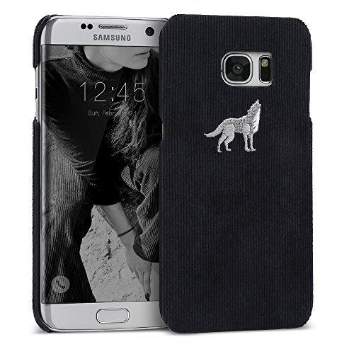 Galaxy S7Edge Schutzhülle DesignSkin [Cord Bar]: Eingesticktes Kordel Fall Winter Special Edition Luxuriöses, dunkelblau Basic Corduroy