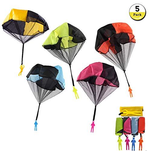 U&X Flugspielzeug Fallschirmspringer Spielzeug, 5 Stück Kinder Hand Werfen Fallschirm Wurf Parachute Kinderdrachen Spielzeug Geschenk für Draußen