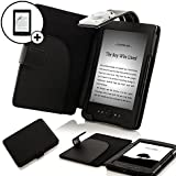 """Forefront Cases® Kindle 4, 6"""" E Ink Display, Wi-Fi, Black - Black Leather Case Cover Wallet with LED Reading Light For Kindle, 6"""" E Ink Display, Wi-Fi, Black - Sept 2012 Release + SCREEN PROTECTOR"""