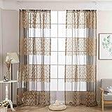 ToDIDAF Transparente Gardinen/Vorhang, Gardine Tüll Fenster Behandlung Voile drapieren Volant Stoff, für Zuhause/Wohnzimmer/Schlafzimmer Dekoration, 2 Stück (Coffee)