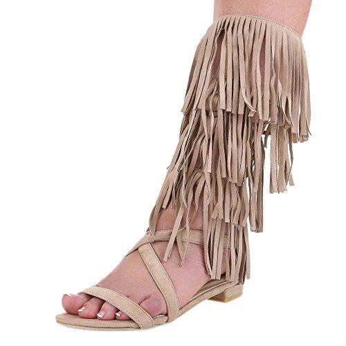 Scarpe Da Donna, D-10, Sandali Stile Western Con Frange Beige