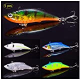 Esche da Pesca,Mini Pesca Esche VIB 5 Pack Esche a Scatto Spinnerbaits Metallo Esche Artificiali Spinning per Trota Persico,Luccio Spoon Kit