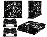 PS4 Console Design Folie Aufkleber Sticker Skin fur Sony PlayStation 4 System plus Two(2) Decals for: PS4 Dualshock Controller - Reaper Black