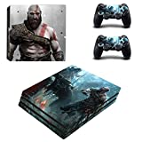 THTB Playstation 4 Pro + 2 Controller Aufkleber Schutzfolien Set - God of War /PS4 P